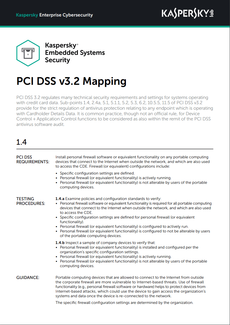 Kaspersky Embedded Systems Security - Mappatura PCI DSS v3.2