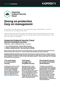 Scheda dati su Kaspersky Endpoint Security | Cloud