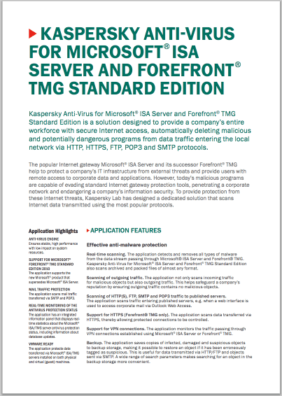 Kaspersky Anti-Virus for Microsoft® ISA Server and Forefront® TMG Standard Edition - Scheda tecnica